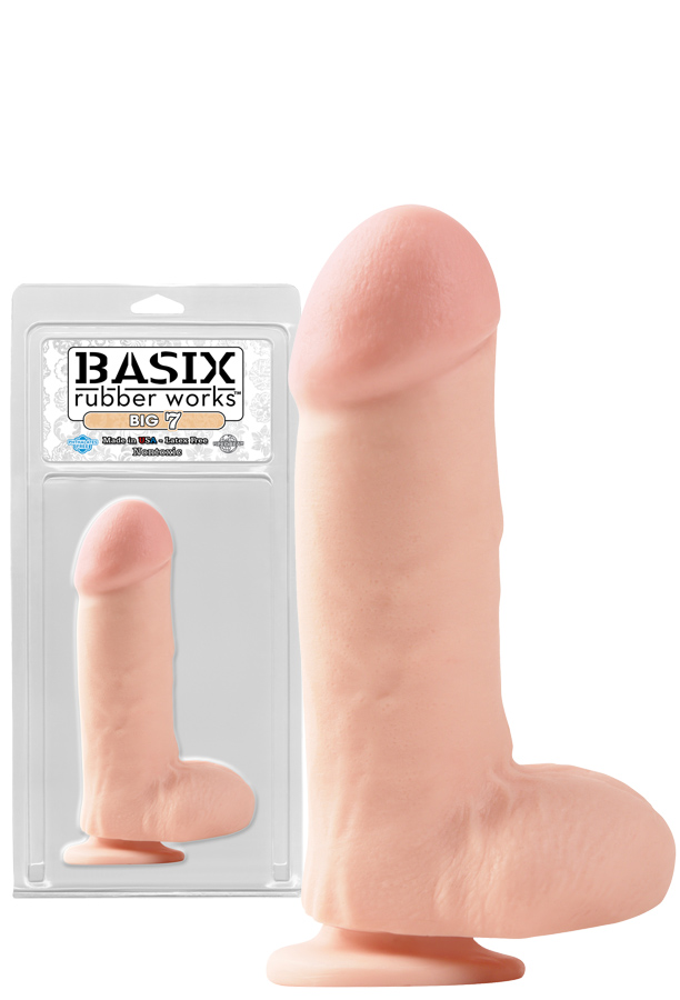 Basix 7 inch Big Dong Flesh with Suction Cup and Balls