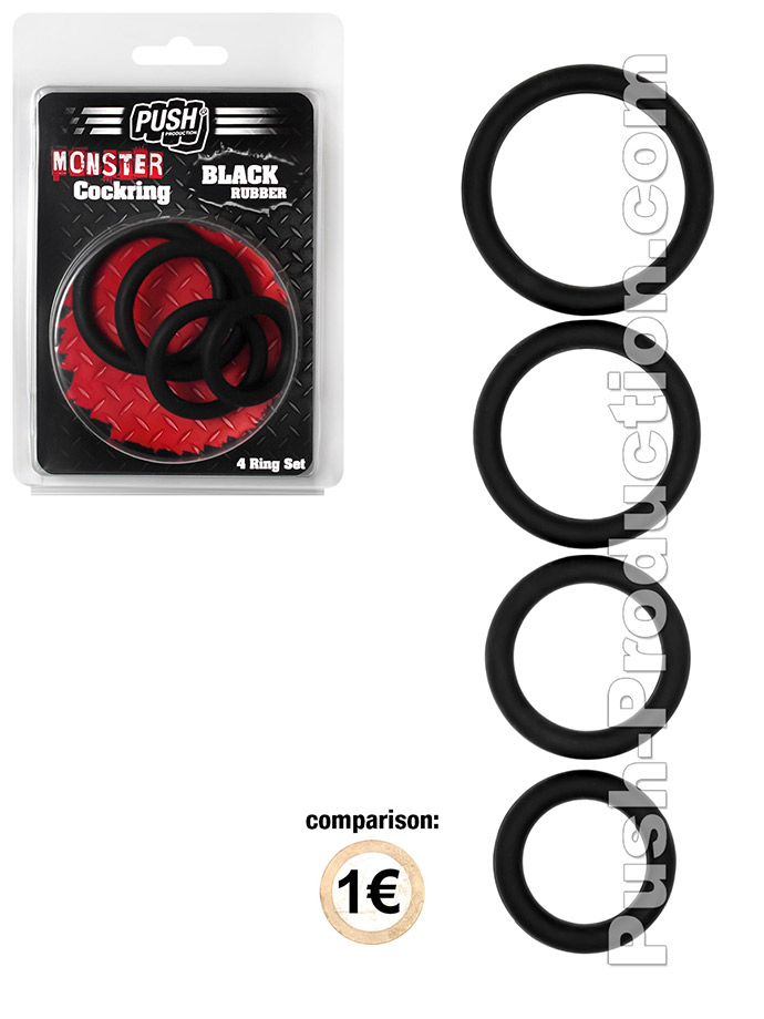 Push Monster - Black Rubber Cockring 4 Ring Set