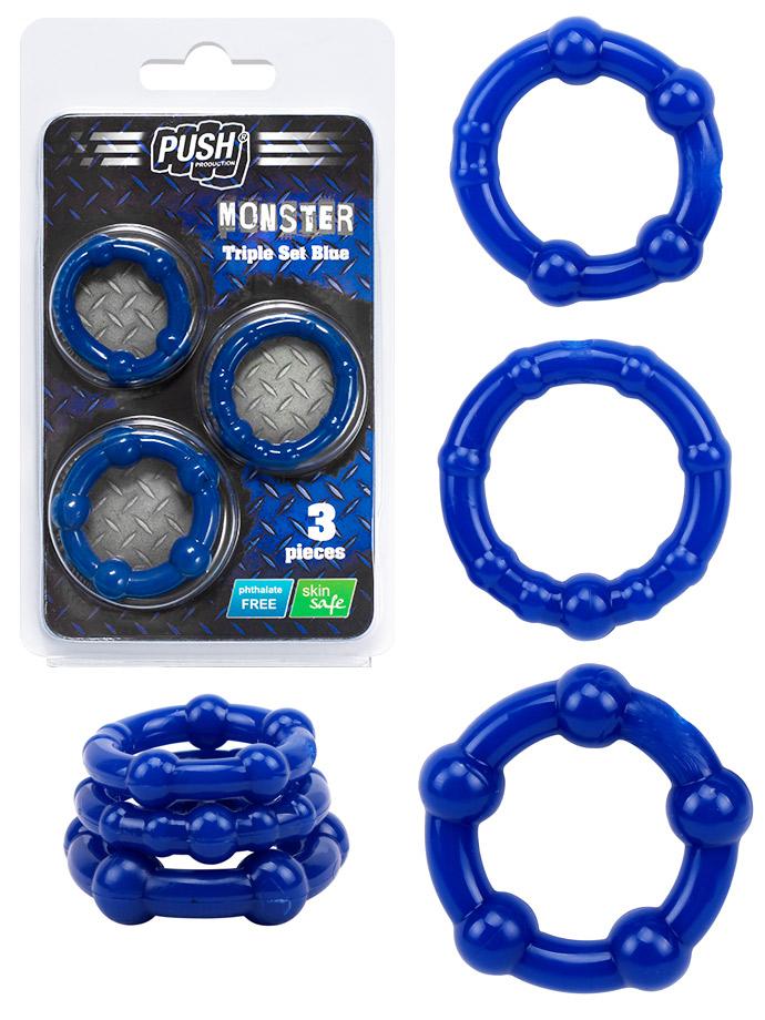 GRATIS - Push Monster Cockring - Triple Set Blue